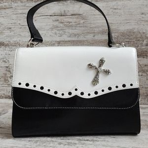 ⚄Hobo Retro Black White Leather Top Handle Bag
